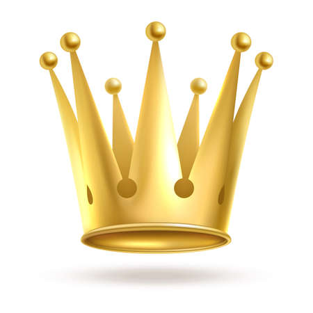Crown golden. Gold elegant metal royal crowning isolated on white background. Queen or king, princess or prince coronation golden symbol. Monarchy head accessory. Vector realistic illustration Stock Illustratie