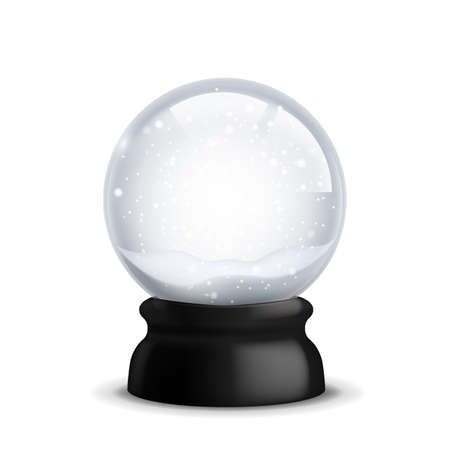 Crystal with snow. Christmas and New Year realistic snowy globe. Xmas magical ball with falling snowflakes. Blank transparent sphere. Winter souvenir toy template. Vector illustration
