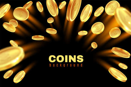 Explosion gold coin. Dollar coins golden rain. Game gambling prize money splash. Casino jackpot, bingo background isolated on black. Square luxury frame with copy space vector illustration Stock Illustratie