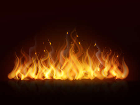 Flame line realistic. Hot fireplace flames burning fiery wall warm fire, blazing bonfire red and orange color effect. Horizontal background on black. Banner or poster isolated vector element