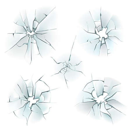 Glass broken. Realistic cracked window. Damaged fragile textures effects set with hole and shards. Crushed ice. Deforming mirrors. Shattered screen. Vector destroyed surface mockup
