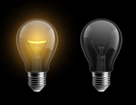Light bulb realistic. Glowing and turned off isolated on black lamps. Bright yellow glow, electrical equipment. Creative idea and innovation lightbulb vector 3d business concept.