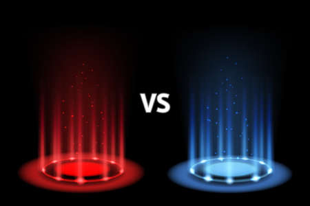 Versus battle. Portal magic with neon blue and red lightning. Realistic light effect with beams. 3D futuristic teleport funnel. Music or sport competition. Vector illustration