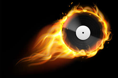 Burning vinyl record. Realistic analog audio disc with fire trace. Retro musical album. Disco party background. DJ music. Flaming multimedia equipment template. Vector entertainment concept