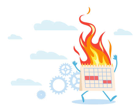 Deadline Panic. Paper spiral calendar running and burning, diary organizer in fire, self control and discipline, working on timeline less. Time management concept. Vector illustration