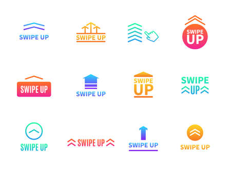 Swipe up. Social media interface buttons. Different arrows for mobile application. Video stories link drag or communication blog UI signs. Vector colorful graphic digital icons set