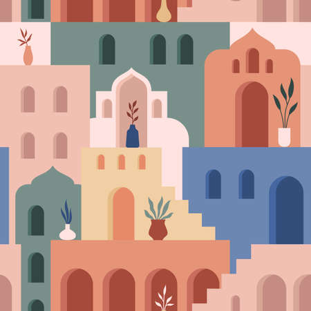 Abstract architecture. Minimalist geometric building shapes seamless pattern, moroccan oriental streets, bohemian aesthetic. Vector concept. Decor textile, wrapping paper, print or fabric