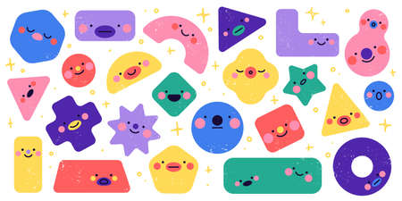 Geometric shapes characters. Funny different simple figures, square triangle and circle forms, cute faces, abstract color kids characters, cartoon emotions design, vector with texture set Stock Illustratie