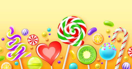 Realistic candies poster. Color sweets, bright lollipops, glossy fruit dragees, striped caramels on sticks, sugar products, kids treats, horizontal background. Vector isolated concept
