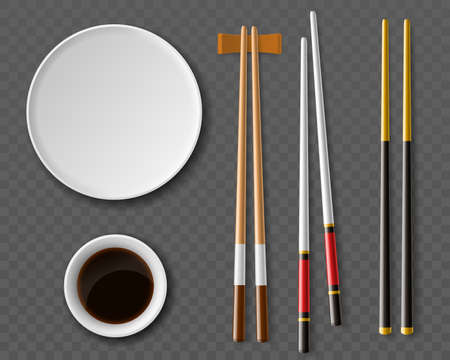 Chopsticks plates. Realistic table setting top view, Traditional japanese or chinese cuisine, wooden cutlery, plate and cutlery for sushi, soy sauce in white sauce pan, vector set Stock Illustratie