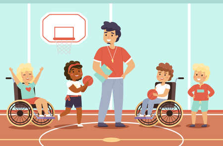 Disabled kid sport. Happy children in gym with coach, fun young wheelchair athletes, mixed sports team, active equal rivals. Students play basketball. Vector cartoon flat isolated concept