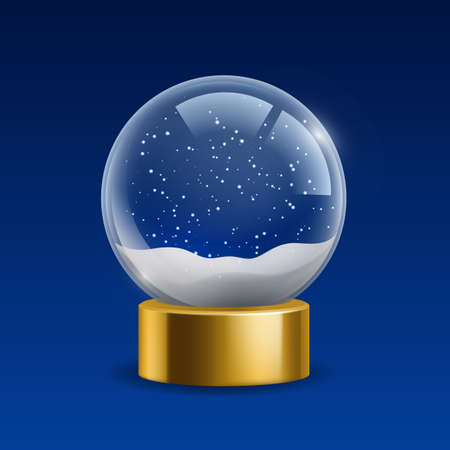 Empty snowglobe. Realistic Christmas globe with snow. Isolated magic crystal ball on golden stand. Transparent glass sphere with snowflakes. Xmas blank souvenir. Vector illustration