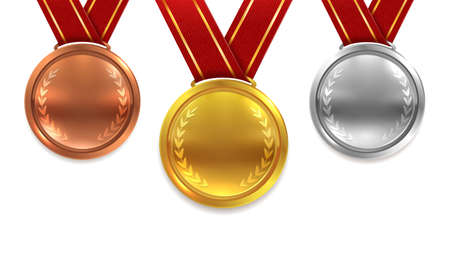 Medal set realistic. Red ribbons gold silver and bronze medals with laurel leaves, first second third place, sport competition prize, award ceremony, vector 3d isolated concept