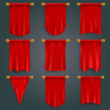 Pennant red. Realistic textile flag 3d, heraldic blank vertical pennants. Award advertising empty banners hanging wall template. Fabric mockup, logo and branding. Vector isolated set