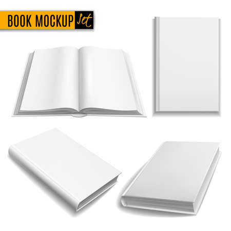 Realistic books. White book mockup cover, blank brochure, paperback empty textbook, magazine template. Closed and opened, front and angle view elements, education vector 3d isolated set Stock Illustratie