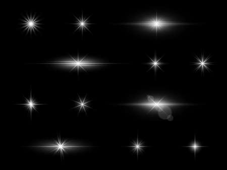 Effect light. White galaxy sparkles. Xmas glowing stardust. Silver holiday glitter templates. Abstract Christmas star flare. Lens reflection. Vector decorative shining elements set