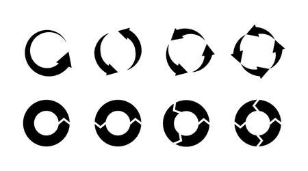Recycling icons. Black silhouette environmental signs. Circle arrows isolated labels. Bio garbage. Reuse trash. Biodegradable waste. Cycle pictogram. Vector ecological graphic symbols set