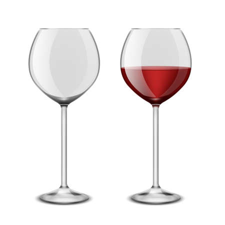 Wine glasses realistic. Restaurant glassware isolated on white background. Red alcoholic drink, empty blank and full wineglass, graphic design element, vector 3d illustration Stock Illustratie