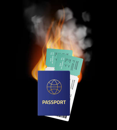 Last minute deals. Hot sale of tickets and tourist vouchers. Burning passport and traveling airline cards. ID papers with flames and smoke. Documents for airplane flight. Vector concept Stock Illustratie