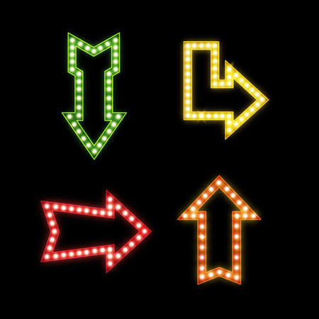 Realistic signs with lamps. Retro illuminated pointers. Glowing symbols of different forms. Bright bar or nightclub advertising electric signboard. Vector contour arrow billboards set