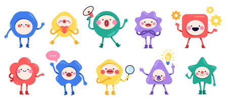 Geometric cute characters. Simple color geometric shapes with hands, feet and funny faces, trendy kids design, cute emotions, square triangle and circle forms, vector cartoon flat set