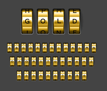 Gold locks combination. Realistic rotating secret unlock code font. Banking security metallic alphabet. Spinning wheels with letters and numbers. Vector safe protection elements set