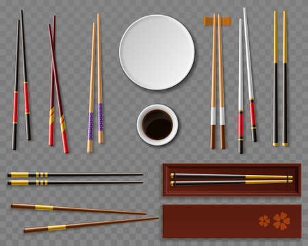 Sushi chopsticks and soy sauce. Realistic dishes and wooden cutlery, traditional asian food, japan restaurant table setting, oriental dinnerware top view, vector isolated set