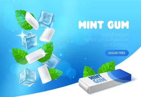 Mint chewing gum. Peppermint bubblegum pads. Realistic advertising banner template. Herbal fresh taste candies for oral health and hygiene. Vector poster with spearmint leaves and ice Stock Illustratie