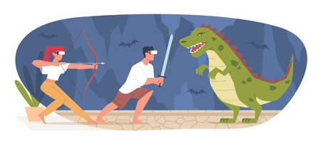 Virtual reality gaming. People with VR glasses. Guy and girl fighting with dinosaur. Entertainment sphere innovation technology. Presence cyber effect. Game simulator. Vector concept