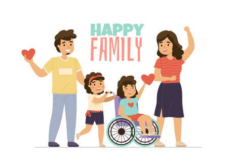 Disabled kid family. Happy parents with children. Couple and girl in wheelchair. Love and care. Sisters with mother and dad walking together. Handicapped persons support. Vector concept