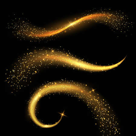 Light tails golden. Fairy magic stardust with yellow sparkles, christmas shiny star light. Glittering and festive gold powder. Visual physical effect, dynamic curve forms, vector set 矢量图像