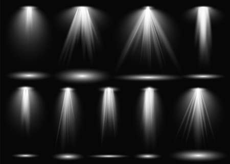 Light. Spotlight stage beam, projection studio beams of light. Theater scene, concert club, presentation stand spot bulb stage show lighting, illuminated effect, vector realistic isolated set