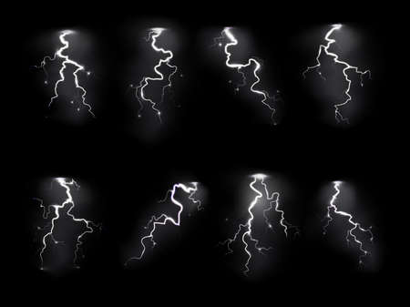 Lightning realistic. Electricity thunderstorm, night sky blitz flash thunder light sparks. Different forms rain weather objects, electricity and explosion symbol vector isolated realistic set 矢量图像