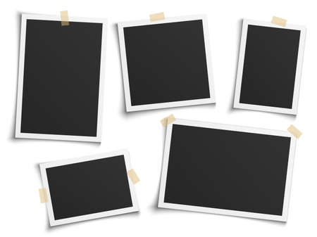 Photo frames realistic. Empty white photos frame vintage with adhesive tapes. Images different forms on wall, blank retro memory album. Wall collage photography mockup vector isolated set