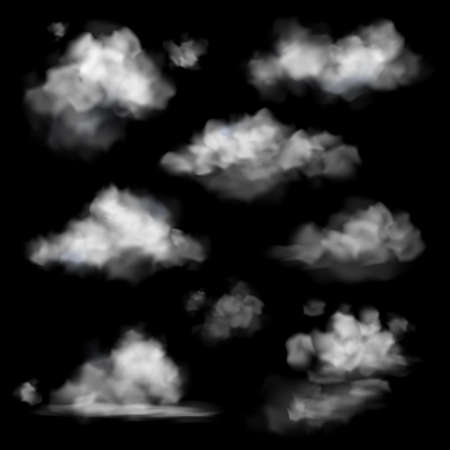 Realistic cloud. Fog white clouds collection, fluffy sky fog isolated on black sky background, smoke chemistry 3d texture, different forms weather objects, cloudscape backdrop vector set 矢量图像
