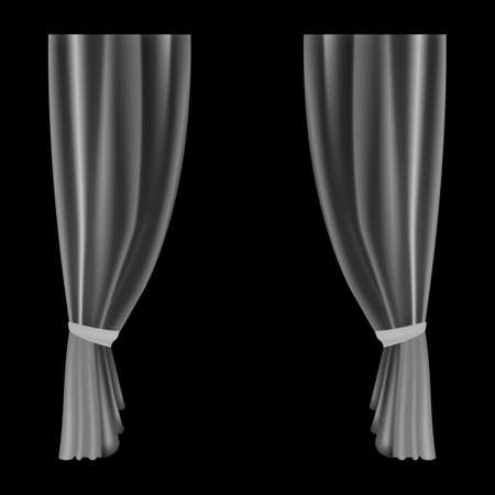 Curtains transparent. Waves bobbinet curtain for window decoration. Realistic flowing lightweight drapes, hanging silk smooth tulle fabric. Interior isolated elegant object vector illustration