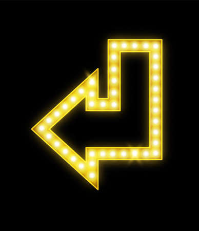 Realistic arrow with lamps. Glowing neon yellow symbol. Retro illuminated bright pointer, electric vintage signboard for bar or nightclub advertising, vector isolated illustration