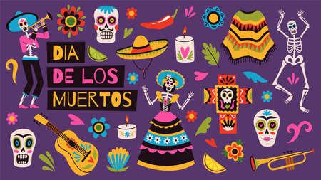 Day of dead elements. Holiday mexican decor, traditional ornaments, sugar skulls, dancing skeletons, sombreros and ponchos, dia de los muertos, decorative vector cartoon flat isolated set