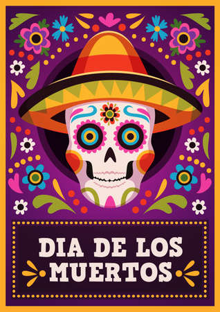 Day of the dead poster. Holiday mexican banner, sugar skull in sombrero with traditional decor, bright flowers and leaves ornament, family party, death carnival, vector illustration 矢量图像