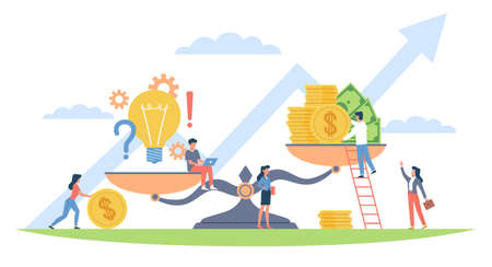 Scales concept. Money and idea aspiration to balance, bulb symbol and stack of coins and cash, investing in ideas, financial injections in new project, vector cartoon flat isolated concept
