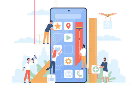 Mobile application build. UI designers and programmers group create new phone software, digital developers, app construction, huge smartphone and little people, vector isolated concept