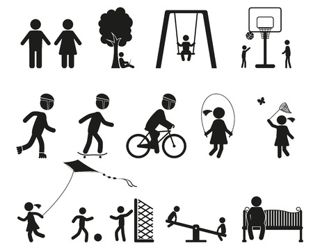 black family: Children Playing, playground, family black icon set