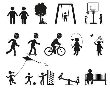 Los niños que juegan, parque infantil, familia icono negro conjunto