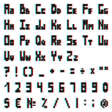 screen type: stereo pixel alphabet with Anaglyph 3D effect