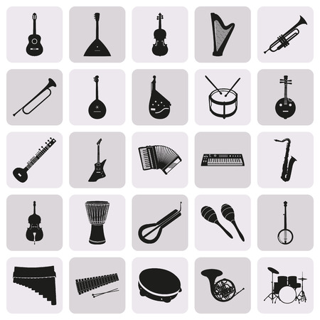icon collection: Collection of simple black silhouettes of musical instruments
