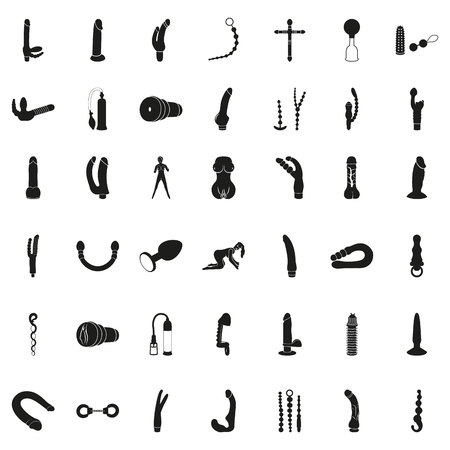 Vector Set of Black Sex Shop and Sex Toys Icons