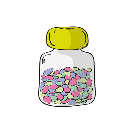 multivitamins: Bottle with pills. Vector illustration. Medicine vector illustration in modern cartoon style.