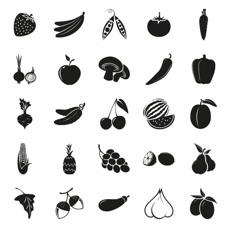 grapes and mushrooms: vegetarian delicious food 25 simple icons set