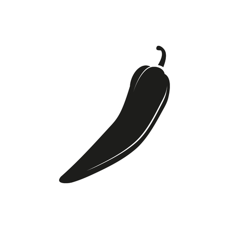 Simple black Pepper chilli vector illustration isolated on white background. Elements for company