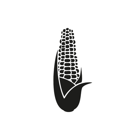 sweetcorn: Simple black Corn vector illustration isolated on white background. Elements for company